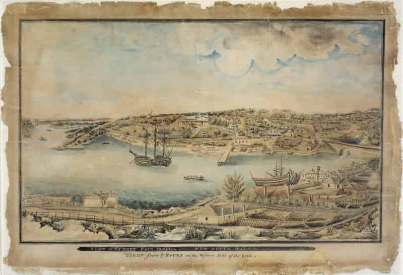 View of Sydney Port Jackson, New South Wales, taken from the Rocks on the western side of the Cove, ca. 1803