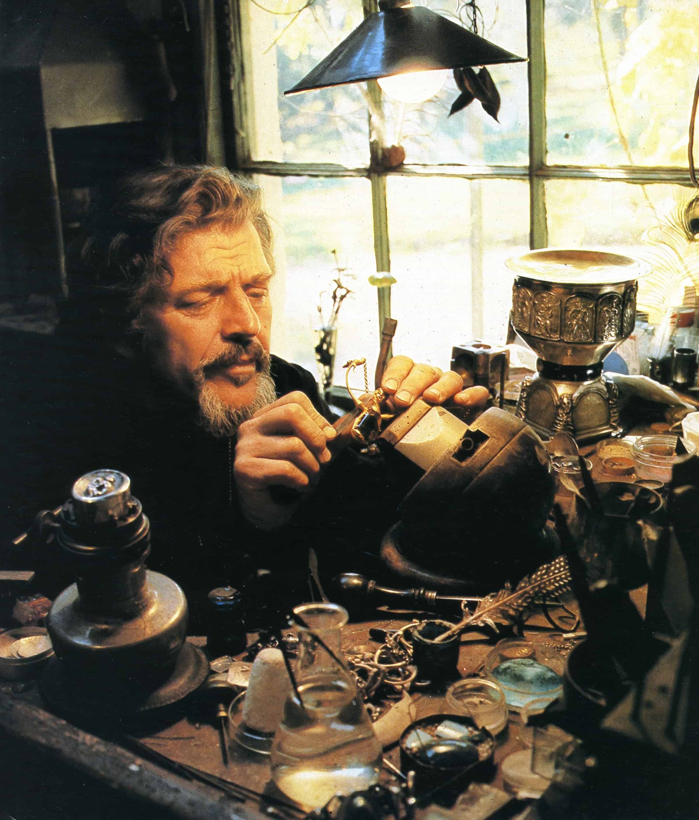 Matcham Skipper at work in his jewellery studio at Montsalvat