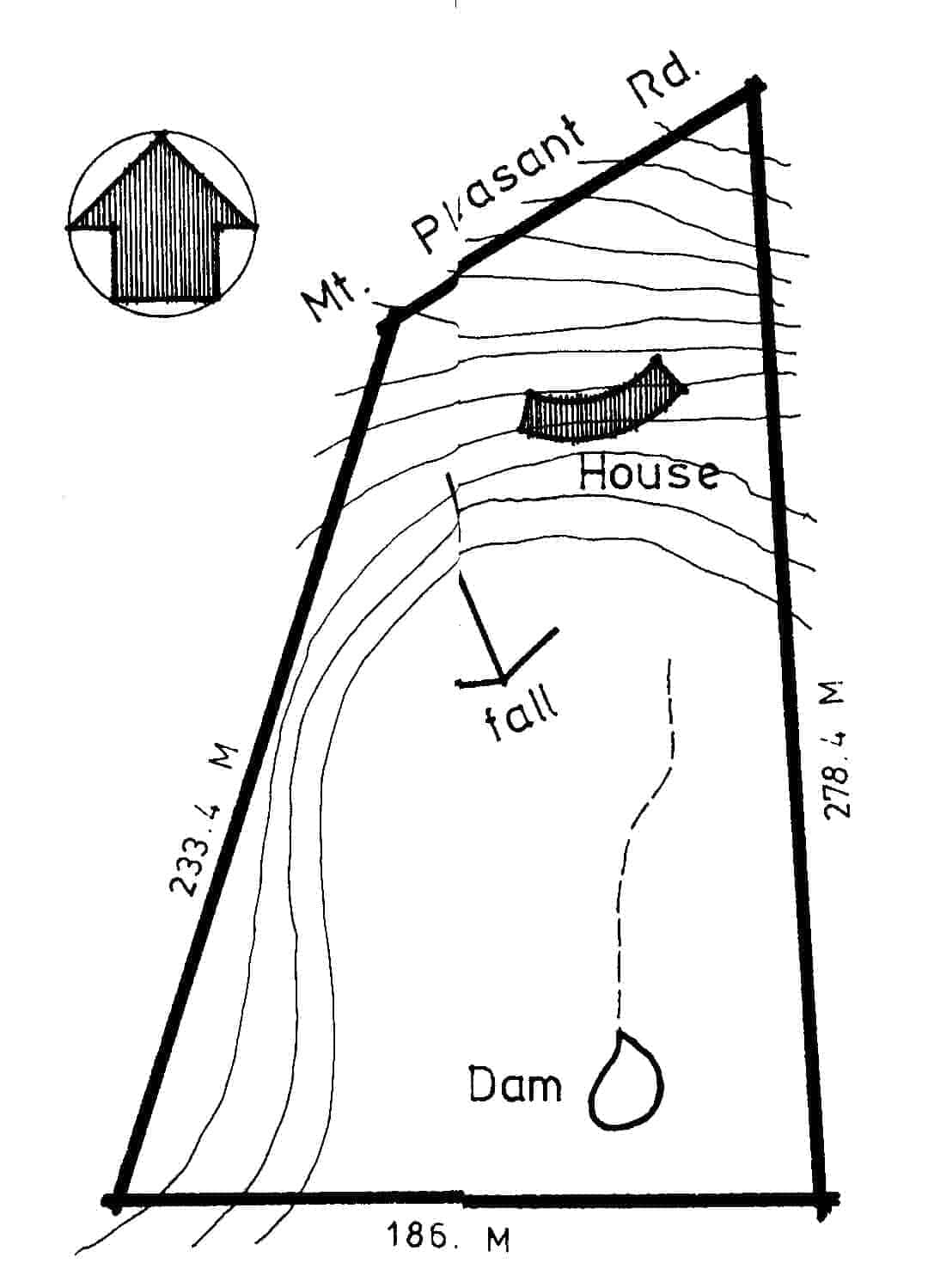 Site map of the Pittard house