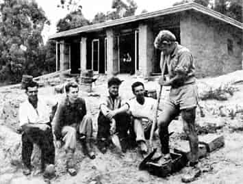 The English house building crew, left to right, Len Mayfield, Sonia Skipper, Alistair Knox, Tony Jackson and Gordon Ford.