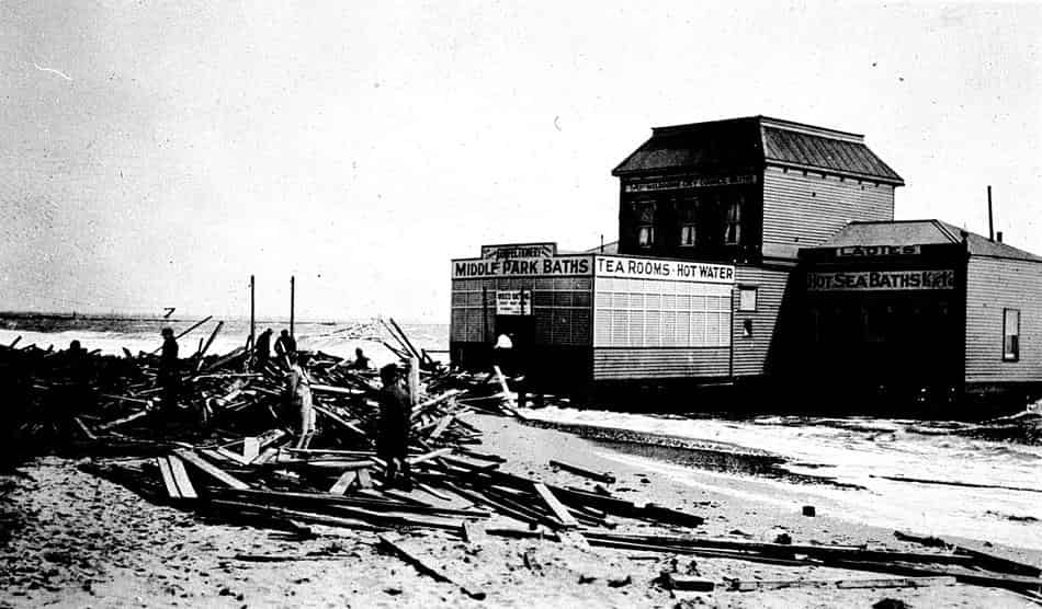 Wreckage of Middle Park Sea Baths after storm in 1934