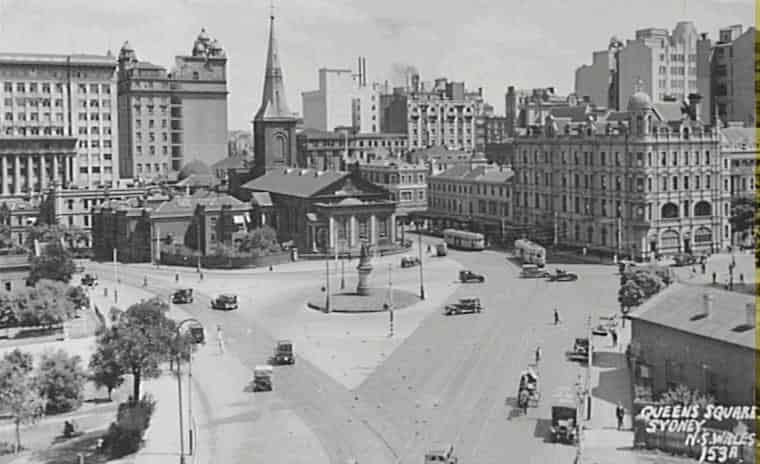 Queen's Square with St James church, Sydney_c1930