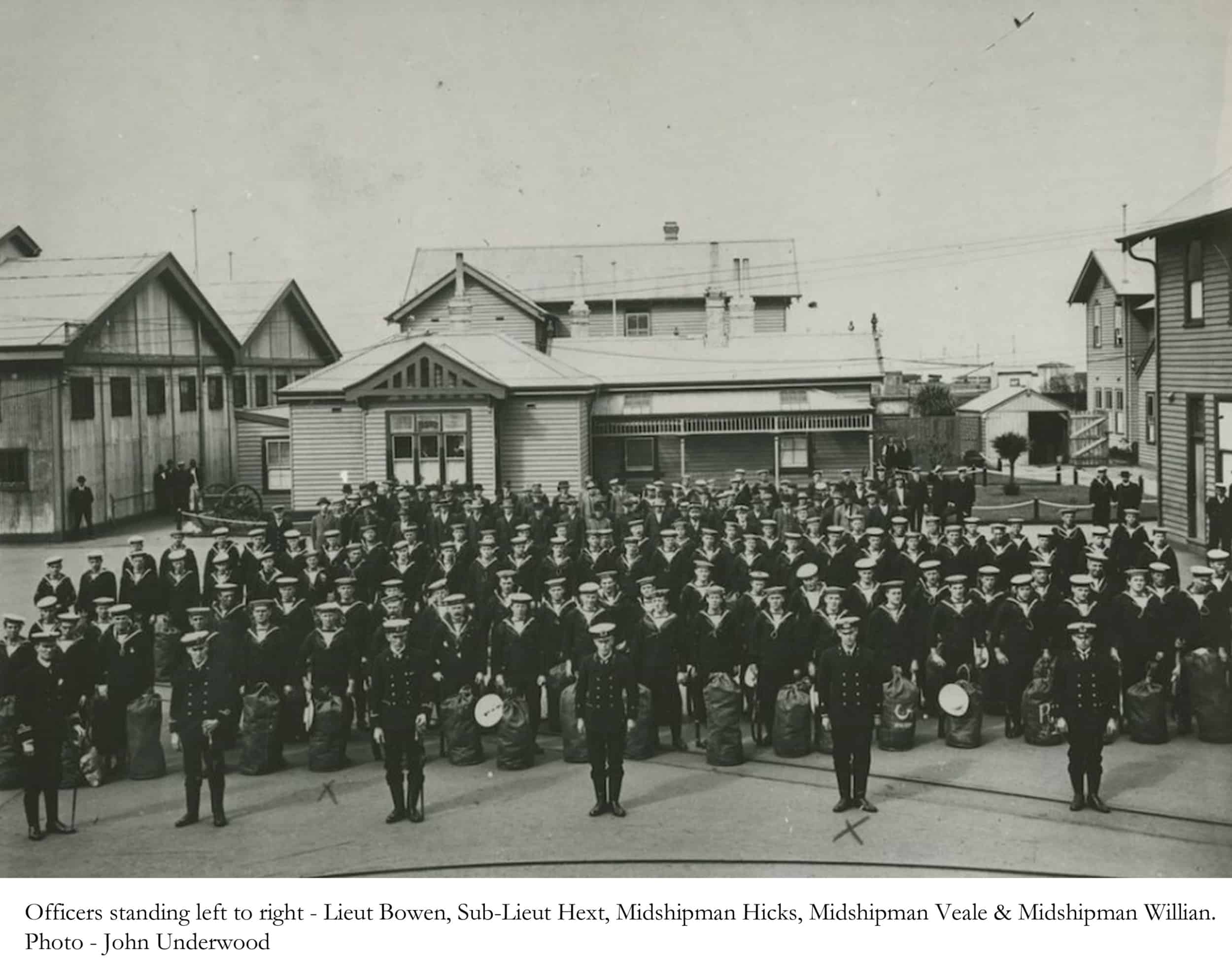 Officers and men in the Parade Ground of the Williamstown Naval Base